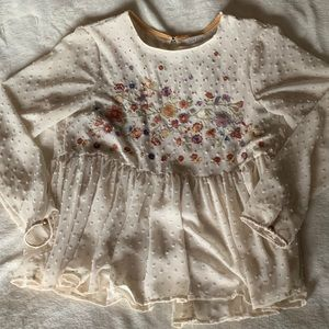 Taylor & Sage Embroidered Swiss Dot Blouse